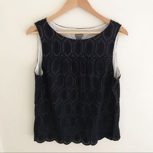 Ann Taylor Navy Cut Out Pattern Sleeveless Blouse